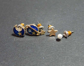 Galaxy post earring set, kawaii universe, moon, moonchild, witchy, pastel goth, fairykei
