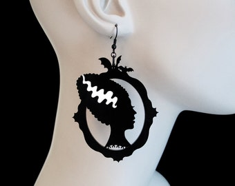 Bride of Frankenstein Silhouette Earrings - Laser Cut Acrylic Earrings (C.A.B. Fayre Original Design)