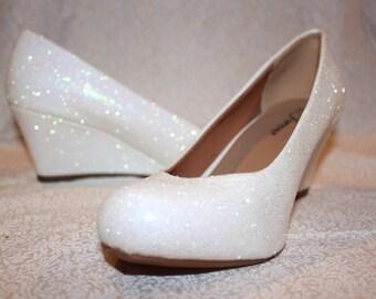 White Glitter Bridal Shoes - Wedding Wedges