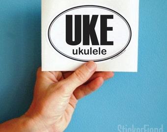 UKE ukulele oval bumper sticker
