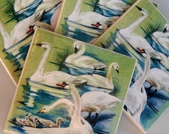 Ceramic Tile Coasters - Retro Swans