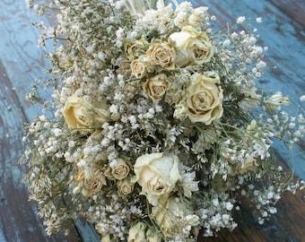 Purity Rose Garden Dried Flower Wedding Bouquet