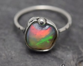 VIDEO!! Welo Ethiopian Opal ring,Sterling silver Womens ring,Multicoloured stone,Statement ring,precious opal,Ring with Ethiopian Opal
