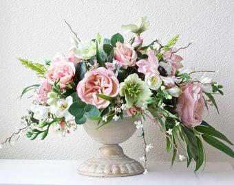 Silk Pink Cabbage Rose Centerpiece/Wedding/Special Occasion/ Spring/Summer bouquet