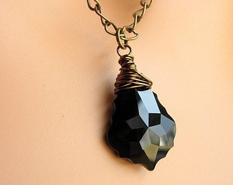 Jet Black Baroque Crystal Pendant, Swarovski Crystal, Wire Wrapped Necklace, Antiqued Brass