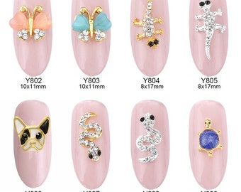 Butterfly Snake - 2 PC 3D Decoration Nail Art Phone Charm Tiny Metal Rhinestone Cabochon NA0523