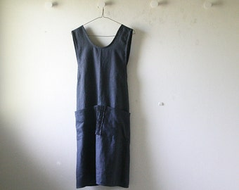 LINEN DRESS - mabel / charcoal / pinafore dress / women / linen clothing / smock / uniform / linen apron / made in australia / pamelatang