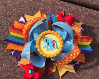 My little pony bow, rainbow dash bow my little pony birthday, rainbow dash my little pony birthday outfit, my little pony birthday