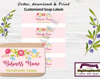 Pink Decorative Hand Soap Labels, Soap Wrappers Customized for your Business