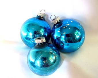 3 Vintage Shiny Brite Christmas Ornaments - Blue Christmas Ornaments