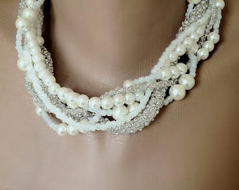 Mediterranean Inspired Bridal Jewelry ,Pearl Weddings, Pearl Necklace Bridsmaids Gifts