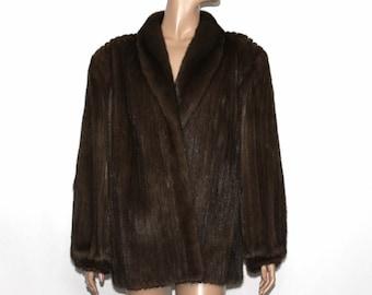 Vintage Mink Coat// 1970s Brown Mink//Leather Inserts//Stroller Mink// Real Mink// Mink Jacket//70s Mink Coat