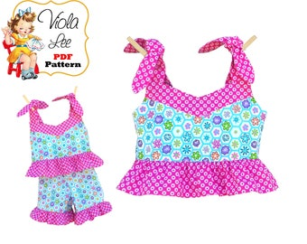 Girls Top Pattern, Girls PDF Sewing Pattern. Toddler Sewing Pattern. Pair with Ruffle Pants or Ruffle Shorts. Toddler Pattern. Download Lacy