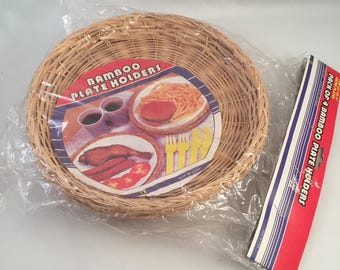 Set of 4 New Retro Wicker Bamboo Paper Plate Holders in Sealed Package Natural Color & Wicker plate holder   Etsy