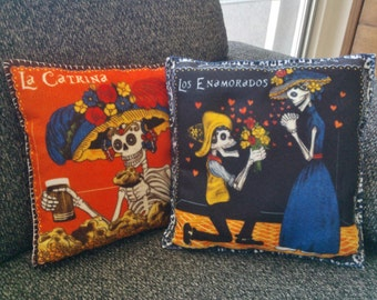 2 Cushions Day of the Dead Catrina, sugar skull pillow, Dia de muertos skull, Valentines skull,Dia de muertos decor, Mexican Sugar skull
