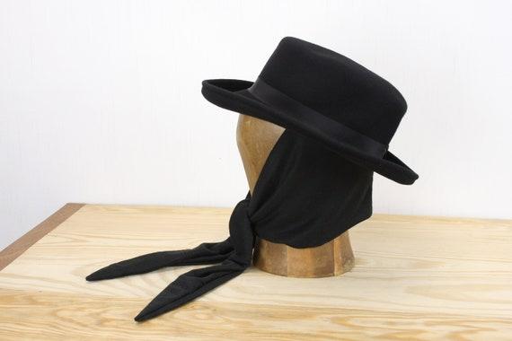Vintage Women's Hat - Fedora - Size 6 7/8 - Black Fur Felt - Cotton Band - Art Deco Crown - Cotton Snood-back Veil - 1940's - Automobilist