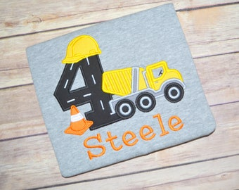 Construction cement mixer birthday shirt, boy birthday shirt, first birthday shirt, toddler birthday outfit, construction party, baby boy