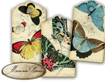 Tags //  butterflies // vintage botanical //instant download printable gift tags, labels  //  shabby chick  // digital Collage Sheet 183