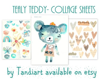 Tealy Teddy- set of digital images for papercraft, a printable image, collage sheet, craft project, digital image, hearts&birds