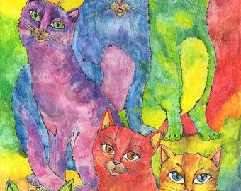 Rainbow cats, feline art, kitty, kitties, original ink and watercolor pencils painting