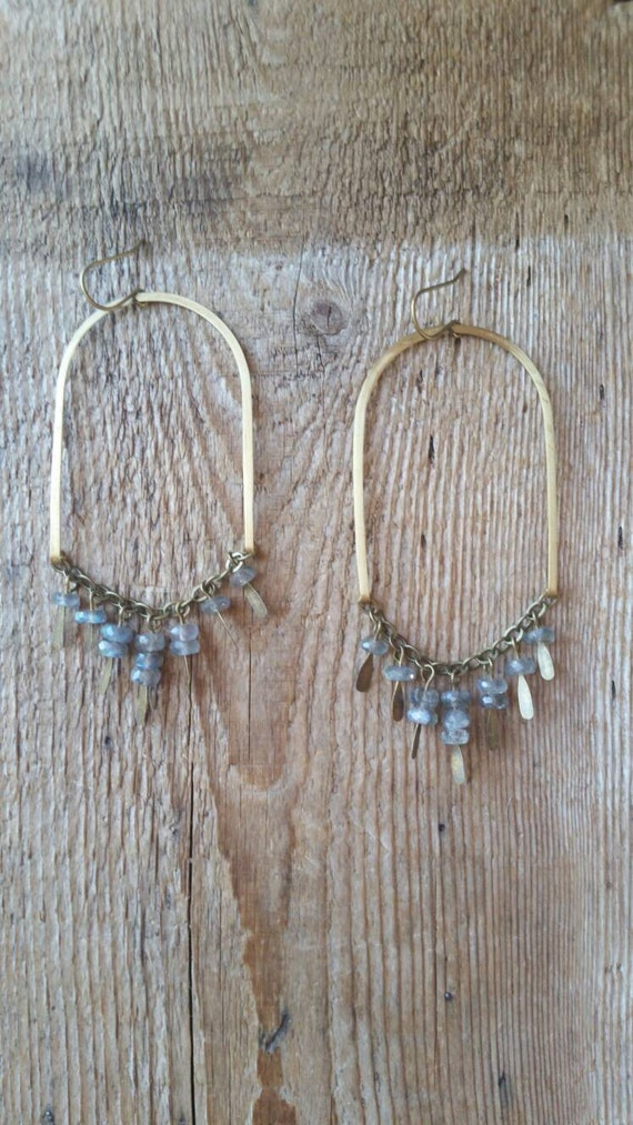 Raw brass arc earrings with labradorite dangles on antique brass