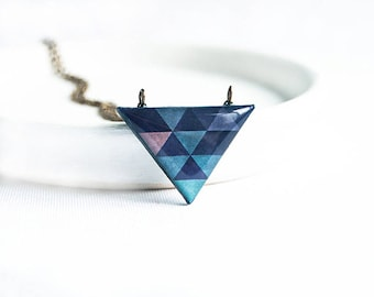 Navy blue geometric necklace, small triangle necklace, collier