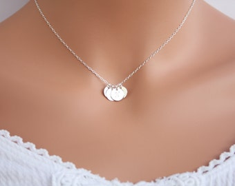 Customized Letter Four Disk Necklace, everyday wear - You can make your choice Style of Disk, Family Initials, Christmas sweet gift for her