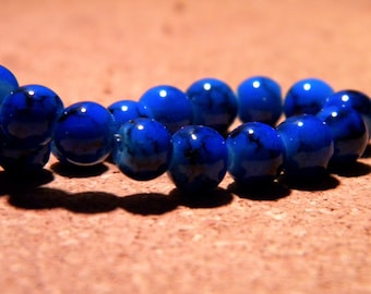 Speckled marble - 6 mm glass beads - 50 royal blue - PF69