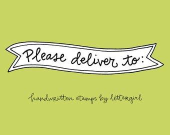 Bitte liefern Stempel: Handschriftliche Snail Mail Stempel