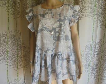 Blouse size 36/38/40/42/44/46/48, printed tunic foliage grey/white cotton for women.