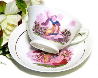 19th Century Antique Staffordshire Hand Enamelled Cup and Saucer Cupid and Goddess