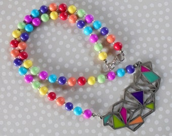 Rainbow Geometric Necklace (4077)