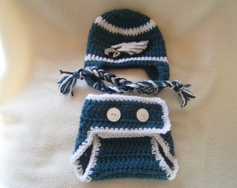 Crocheted Eagle's  Inspired Hat & Diaper Cover (Or Choose Another Team) These Are Made to Order