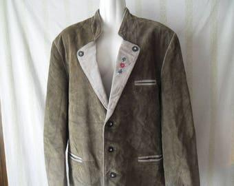 Vintage Mens Real Leather Blazer Jacket,Austrian National Costume Blazer,Mens Leather Blazer,Embroidered Collar Folk Art Blazer Jacket