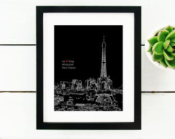 Paris Skyline, Personalized Engagement Gift, Bridal Shower Guest Book Poster, Paris Engagement Gift, Bridal Shower Gift, Eiffel Tower France