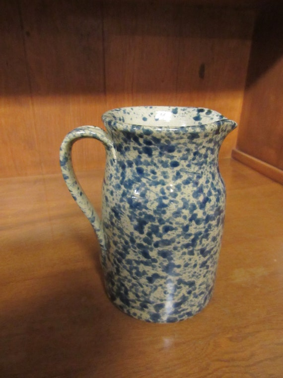 Blue and white pitcher or jug by Moira Pottery of England