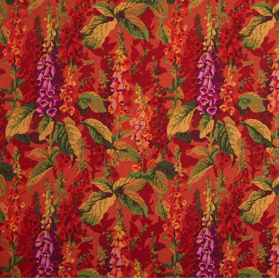 """FOX GLOVES Hot Red PWPJ010.HOTXX Philip Jacobs for Kaffe Fassett Collective Sold in 1/2 yd increments Fq = 18"""" x 22"""" each"""