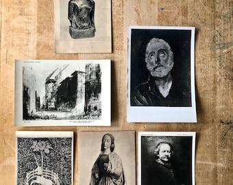 Vintage Postcard Collection, Sepia Postcards, Black and White Postcards, Art History Postcards, Ephemera, Mid Century Postcards,