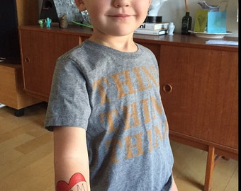kids heart tattoo funny gift for mom temporary tattoo vintage americana heart tattoo for children dress up tattoo red black photography prop