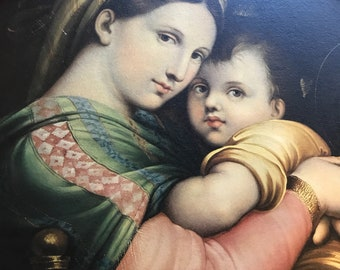 LARGE Madonna of the chair, Raphael,carved gilded wood frame, STUNNING!