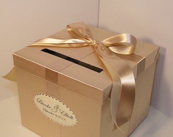 Wedding Card Box Champagne Gift Card Box Money Box Holder--Customize your color/made to order (10x10x9)