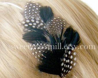 Feather Headband - MON AMI - Polka Dot and Black Feathers - Choose Headband or Clip
