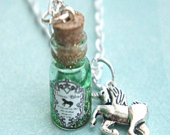 unicorn's blood necklace-potion necklace, bottle necklace