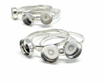 Ring Blanks - Sterling Silver Bezel Blanks - Skinny Stacking Rings - Jewelry Making Supplies