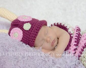 Pink Striped Newborn Caterpillar Halloween Costume, Newborn Baby Girl Photo Prop