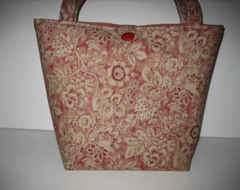Handbag Purse | Tote Bag Large | Gorgeous Red Tan Floral fabric | READY TO SHIP