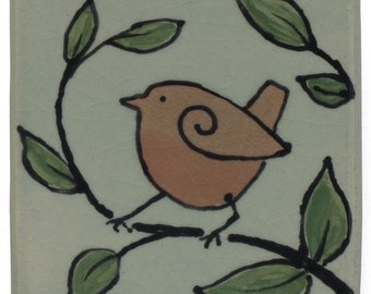Bird, 3 x 3 inch Glazedl Ceramic Tile , Home Decor, Nature Inspired, hand made, one of a kind