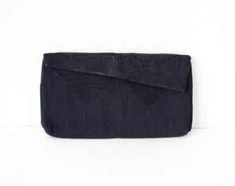 1940s vintage purse / navy cordé clutch / small 40s clutch