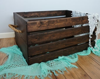 Rustic Wood Crate with Rope Handles - Large 20x16x11.75