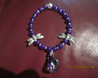 Bracelet Amethyst with Charm and Dragonflies (1809)